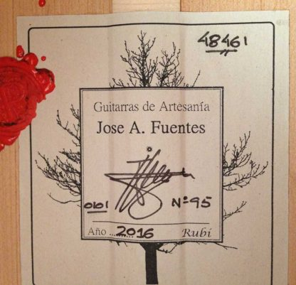 Guitarra flamenca José Antonio Fuentes 2016 etiqueta